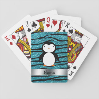 Personalized name penguin turquoise glitter zebra card decks