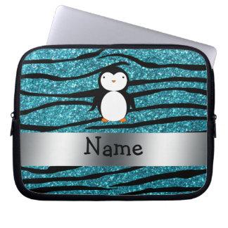 Personalized name penguin turquoise glitter zebra computer sleeve