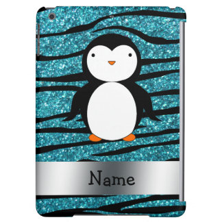 Personalized name penguin turquoise glitter zebra cover for iPad air