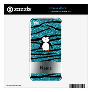 Personalized name penguin turquoise glitter zebra decals for the iPhone 4S