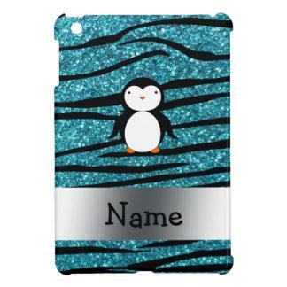 Personalized name penguin turquoise glitter zebra iPad mini covers
