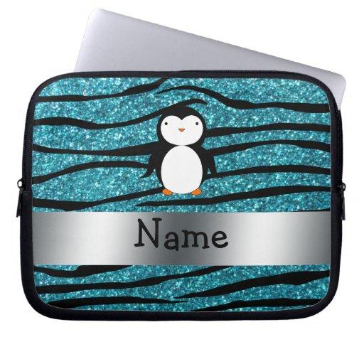 Personalized name penguin turquoise glitter zebra laptop computer sleeve