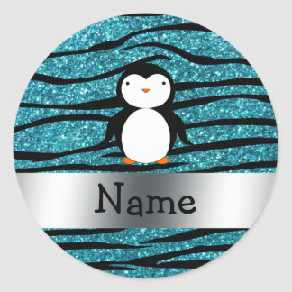 Personalized name penguin turquoise glitter zebra classic round sticker