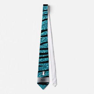 Personalized name penguin turquoise glitter zebra tie