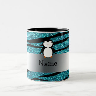Personalized name penguin turquoise glitter zebra Two-Tone coffee mug