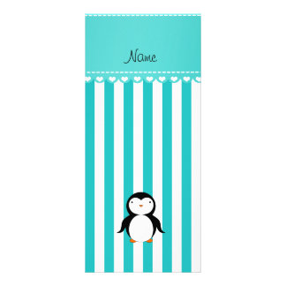 Personalized name penguin turquoise white stripes rack card