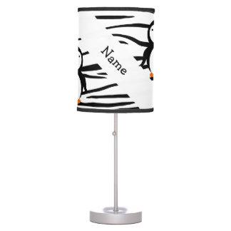 Personalized name penguin zebra stripes table lamp