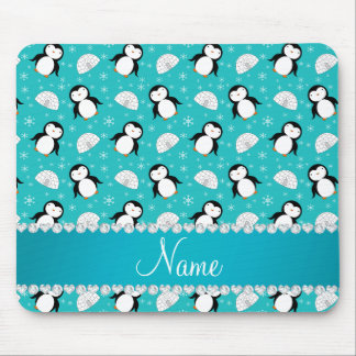 Personalized name penguins igloos snowflakes mouse pad