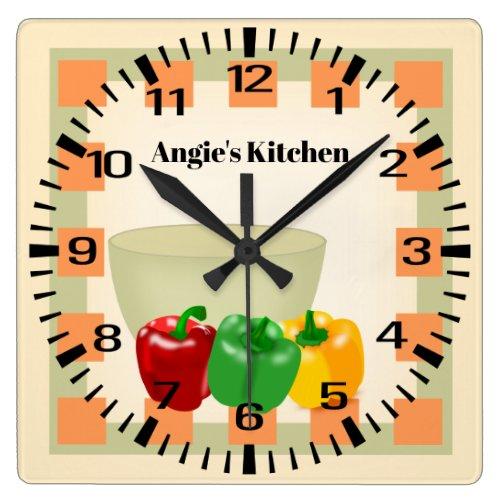 Personalized Name Pepper Veggie Bowl Kitchen Clock