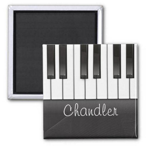 Personalized NAME Pianist Piano Keys Music Teacher 2-inch Square Magnet