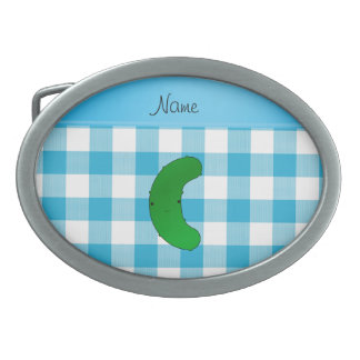 Personalized name pickle blue checkers oval belt buckles