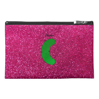 Personalized name pickle pink glitter travel accessories bag