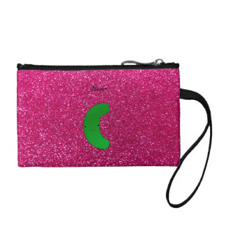 Personalized name pickle pink glitter coin wallets