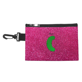 Personalized name pickle pink glitter accessory bag