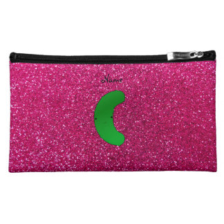 Personalized name pickle pink glitter cosmetics bags