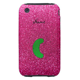 Personalized name pickle pink glitter tough iPhone 3 cover