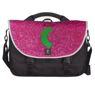Personalized name pickle pink glitter laptop bag