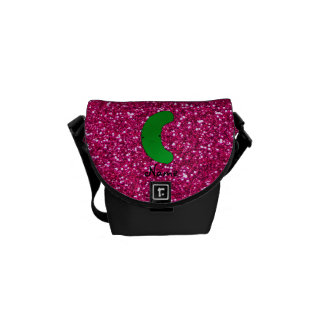 Personalized name pickle pink glitter courier bags