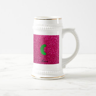 Personalized name pickle pink glitter mugs