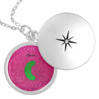 Personalized name pickle pink glitter silver plated necklace