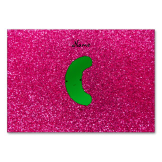 Personalized name pickle pink glitter table cards
