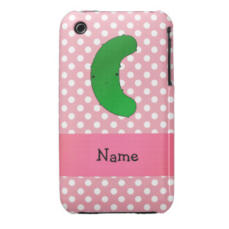 Personalized name pickle pink polka dots iPhone 3 Case-Mate case
