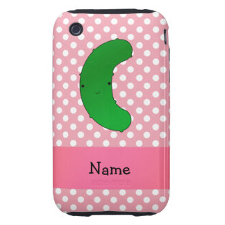 Personalized name pickle pink polka dots tough iPhone 3 cases
