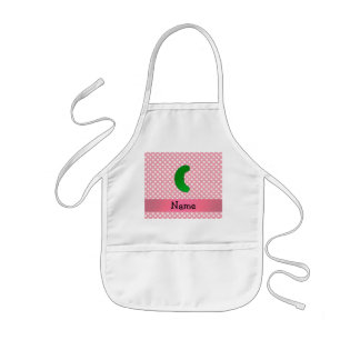 Personalized name pickle pink polka dots kids' apron