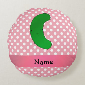 Personalized name pickle pink polka dots round pillow