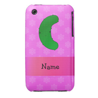 Personalized name pickle pink snowflakes iPhone 3 Case-Mate cases