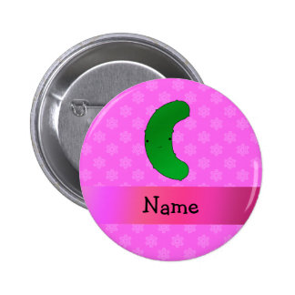 Personalized name pickle pink snowflakes pinback button