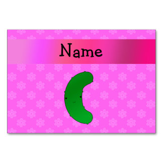 Personalized name pickle pink snowflakes table card