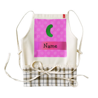 Personalized name pickle pink snowflakes zazzle HEART apron