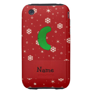 Personalized name pickle red snowflakes iPhone 3 tough cover