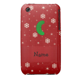 Personalized name pickle red snowflakes iPhone 3 Case-Mate cases