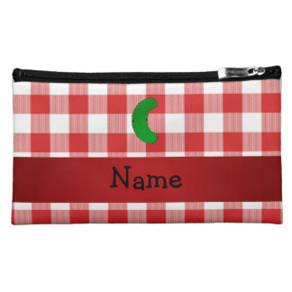 Personalized name pickle red white checkers cosmetics bags