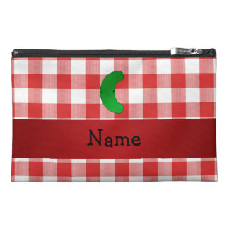 Personalized name pickle red white checkers travel accessories bags