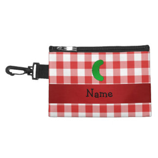Personalized name pickle red white checkers accessory bag