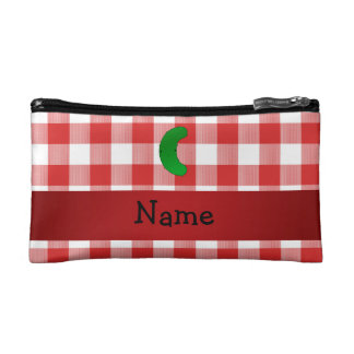 Personalized name pickle red white checkers makeup bag