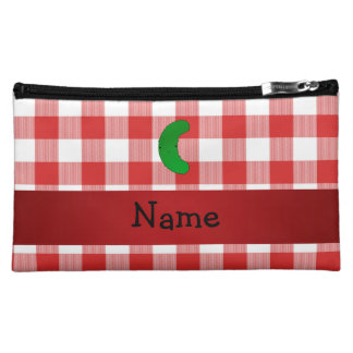 Personalized name pickle red white checkers cosmetic bags