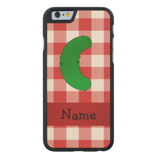 Personalized name pickle red white checkers carved® maple iPhone 6 case