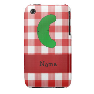 Personalized name pickle red white checkers iPhone 3 cover