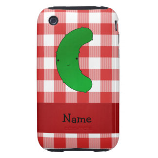 Personalized name pickle red white checkers tough iPhone 3 covers
