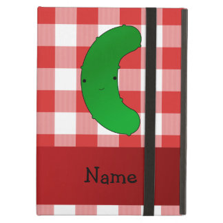Personalized name pickle red white checkers iPad folio case