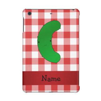 Personalized name pickle red white checkers iPad mini retina cases
