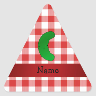 Personalized name pickle red white checkers sticker