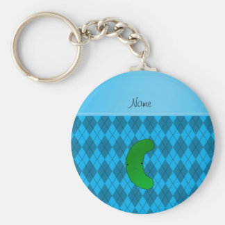 Personalized name pickle sky blue argyle basic round button keychain