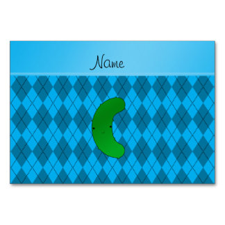 Personalized name pickle sky blue argyle table cards
