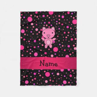 Personalized name pig black pink polka dots fleece blanket