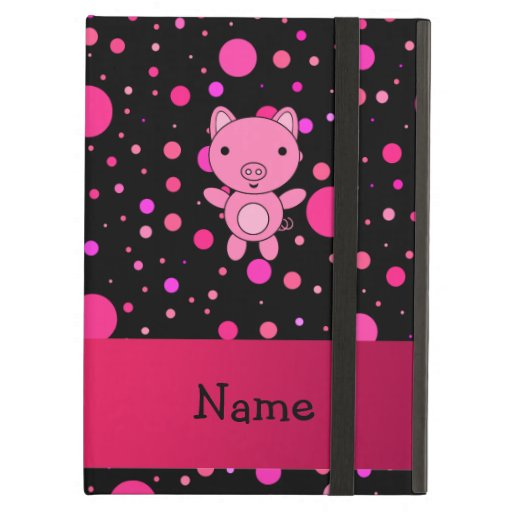 Personalized name pig black pink polka dots iPad cases